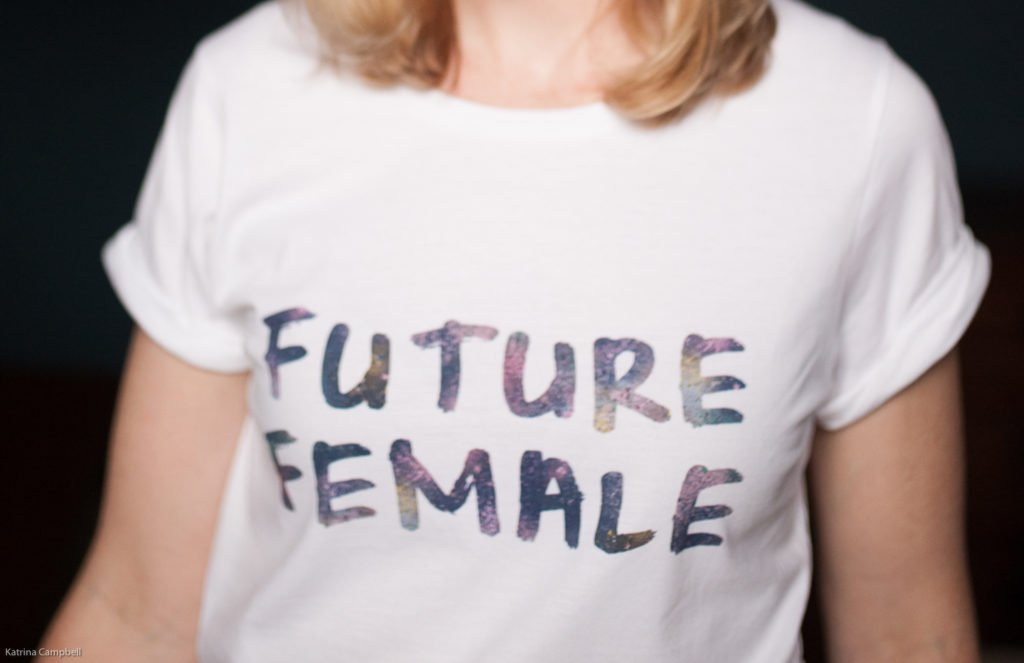 n4mummy wearing Future Female T Shirt by Deborah Campbell Atelier