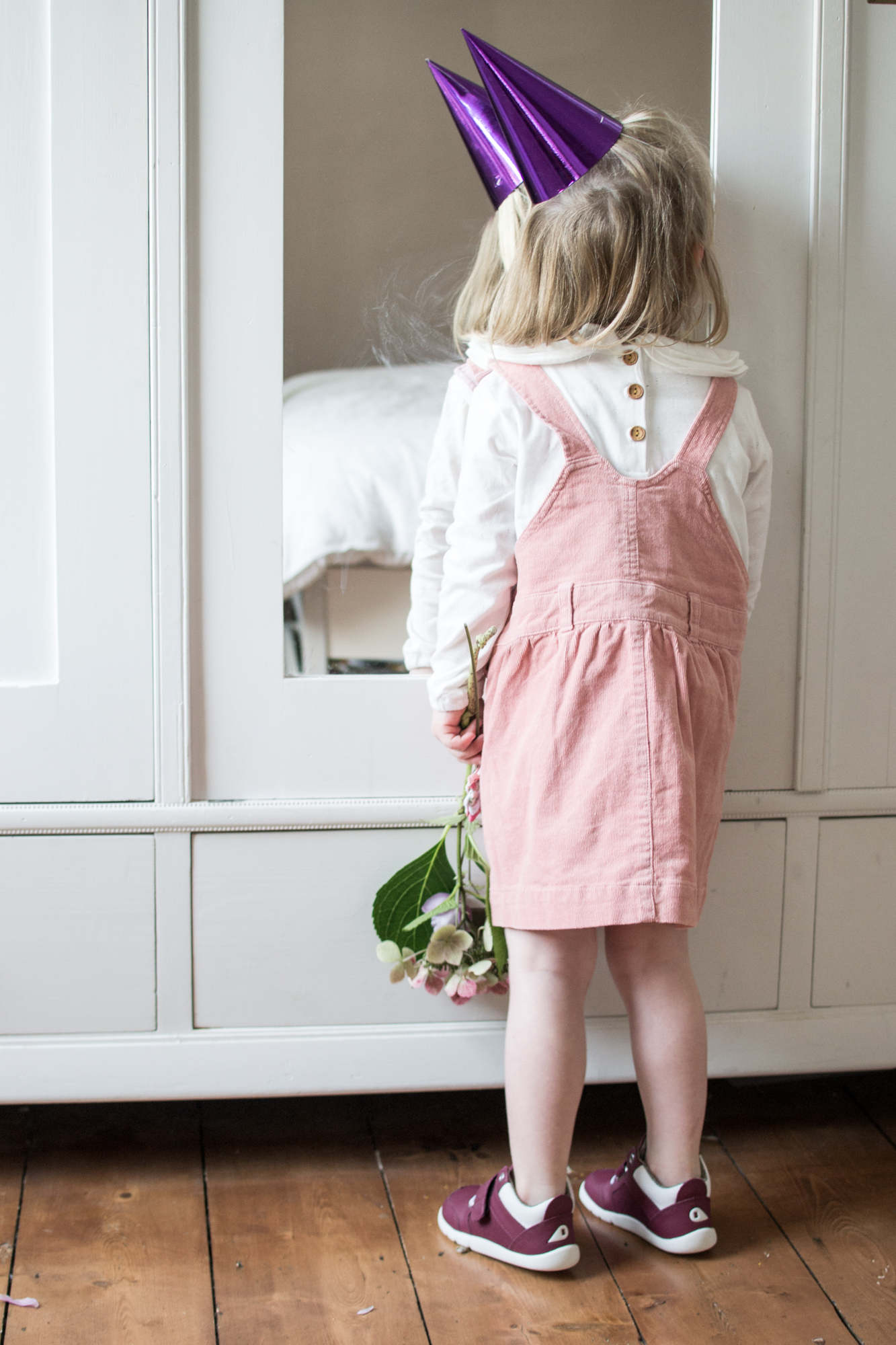 Pink Pinafore Dress from Dotty Dungarees & Bobux Trainers