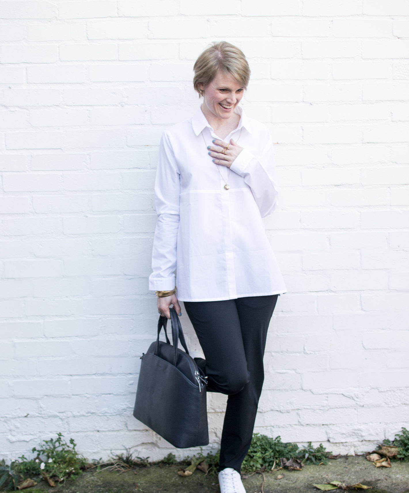 White Shirt and Black skinny trousers from Sheer Apparel