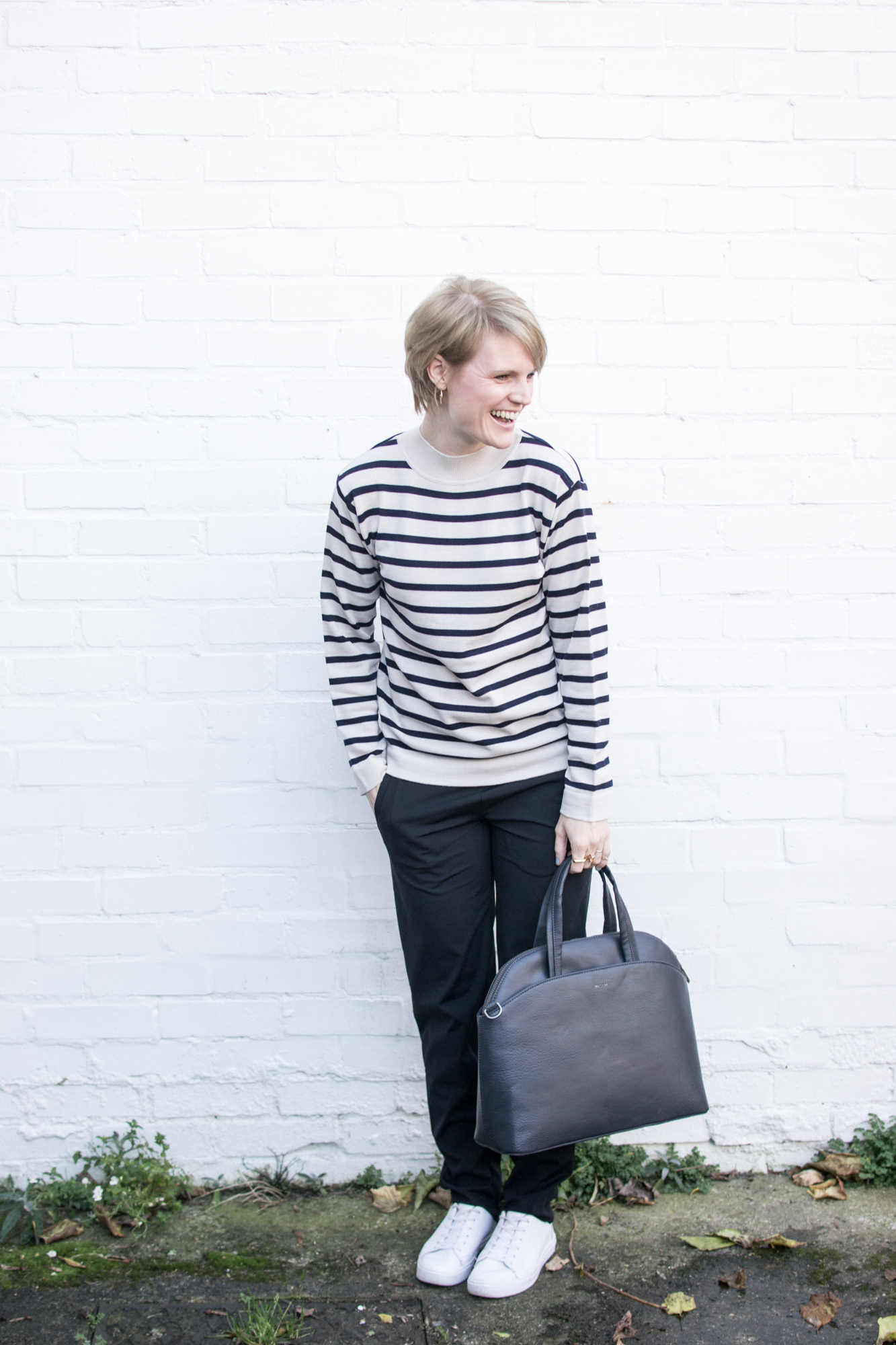 Blue striped jumper and black skinny trousers from Sheer Apparel